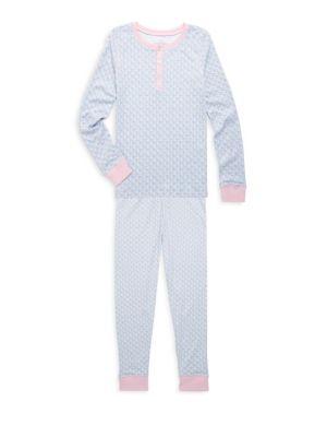 ChristmasToddlers Little Girls  Girls TwoPiece Whale Cotton Pajamas Set