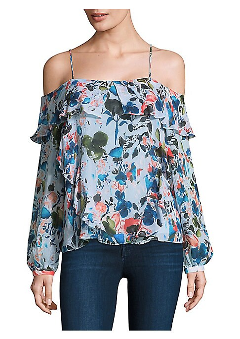 """Image of Floral cold-shoulder silk top with ruffle trim. Cold-shoulder. Adjustable straps. Long sleeves. Pullover style. About 19"""" from shoulder to hem. Silk. Dry clean. Imported. Model shown is 5'10"""" (177cm) wearing US size 4."""