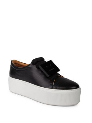 Drihanna Nappa Leather Platform Sneakers in Blk/White