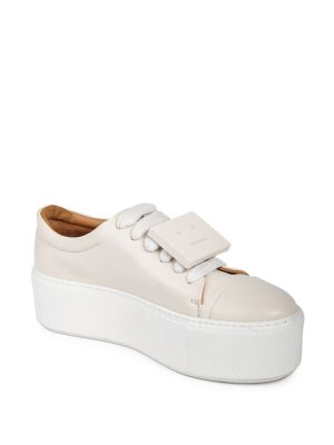 Drihanna Plaque-Detailed Leather Platform Sneakers, White from Acne Studios