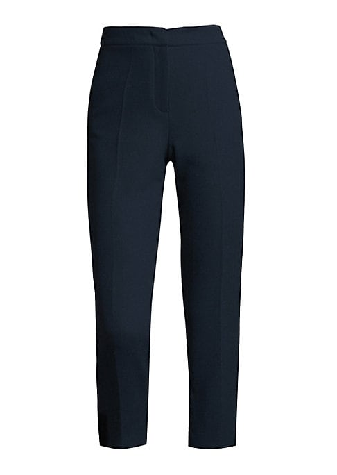 """Image of Cropped wool pants with pleated detailing. Front zip-fly with concealed closure. Front seam pockets. Back welt pockets. Rise, about 10"""".Inseam, about 28"""".Wool. Dry clean. Made in Italy. Model shown is 5'10"""" (177cm) and wearing US size 4."""