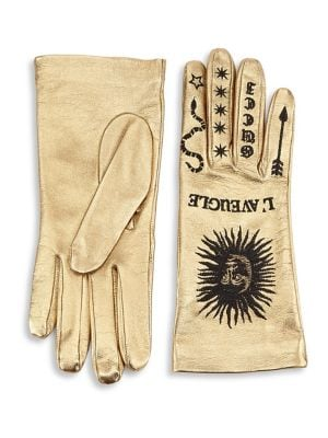 Melissa Metallic Leather Embroidered Gloves, Antique Gold