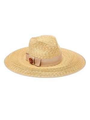 Crystal Embellished Wide Brim Straw Hat - White, Sand