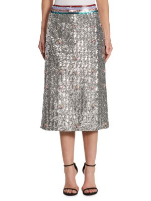 MARY KATRANTZOU Sigma Crystal-Embellished Sequin Midi Skirt in Silver