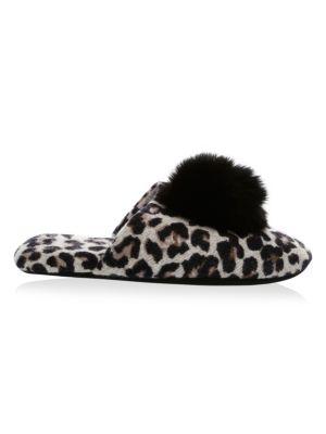 MINNIE ROSE Cashmere-Blend Fox Fur Pom Pom Slippers in Leopard Print