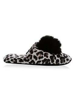 a17706922dcaf Minnie Rose - Cashmere Blend Fox Fur Pom Pom Slipper