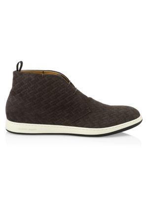 Image of Suede sneakers with an allover herringbone pattern. Suede upper. Round toe. Lace-up vamp. Leather lining. Rubber sole. Made in Italy.