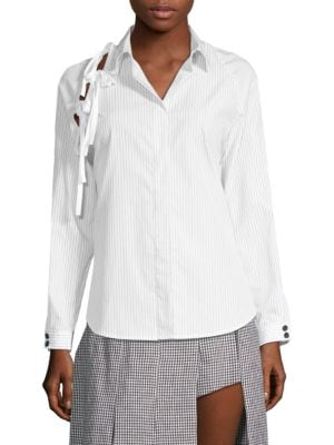 Woman Noah Bow-Detailed Cotton-Poplin Shirt White from THE OUTNET.COM