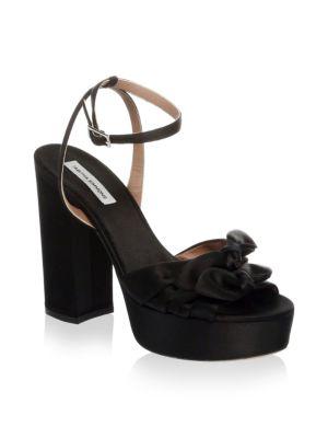 Jodie Bow-Embellished Satin Platform Sandals in Black