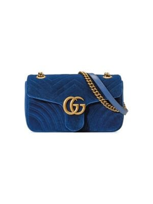 79a20e4d088 Gucci Medium Gg Marmont 2.0 MatelassÉ Velvet Shoulder Bag In 4511 Blue