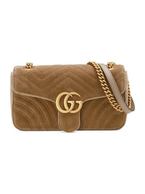 Medium Gg Marmont 2.0 Matelasse Velvet Shoulder Bag - Brown, Taupe/ Taupe