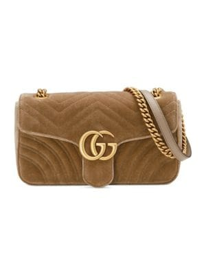 Medium Gg Marmont 2.0 Matelasse Velvet Shoulder Bag - Brown in Neutrals