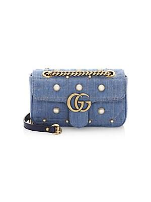 04d5d11b76f Gucci - GG Marmont Denim Mini Shoulder Bag - saks.com