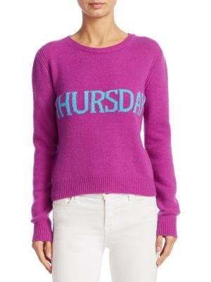 Sweater Slim Sweater Rainbow Week In Virgin Wool Blend With Thursday Lettering in Pink