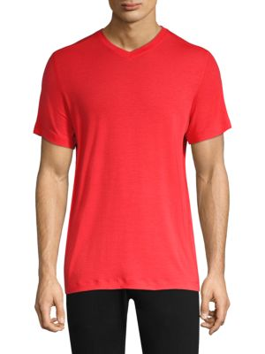 MPG Tower V-Neck Tee in Fiery Red