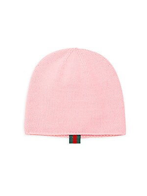 Image of Iconic Gucci red and green Web adorns beanie brim Wool Hand wash Made in Italy. Children's Wear - Gucci Kids. Gucci. Color: Rose. Size: Medium (4-6).