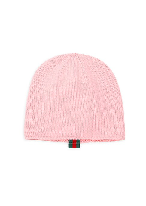 Image of Iconic Gucci red and green Web adorns beanie brim. Wool. Hand wash. Made in Italy.