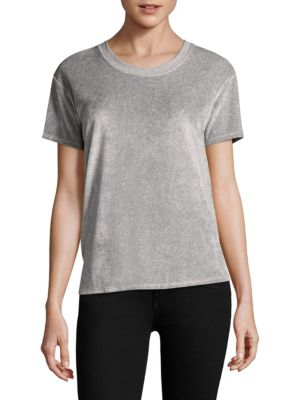 """Image of Velvet tee. Crewneck. Short sleeves. Pullover style. About 25.25"""" from shoulder to hem. Cotton/modal/polyester. Dry clean. Made in USA. Model shown is 5'10"""" (177cm) wearing US size Small."""