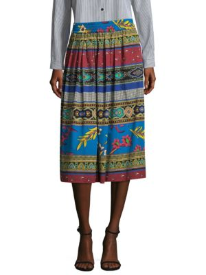 Jungle-Print Gathered Cotton Midi Skirt, Navy