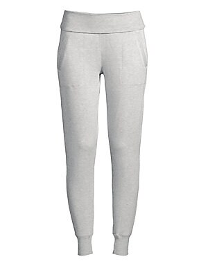"Image of Comfortable fleece pants with fold-over waistband. Elasticized fold-over waist Pull-on style Modal/polyester/spandex Machine wash Made in USA SIZE & FIT Rise, about 9"" Inseam, about 28"" Model shown is 5'10"" (177cm) wearing size Small. Contemporary Sp - Ca"