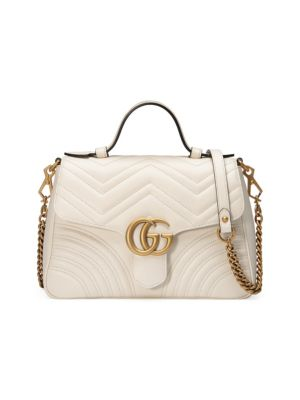 Gucci Gg Marmont Small Chevron Quilted Top-Handle Bag With Chain Strap, White