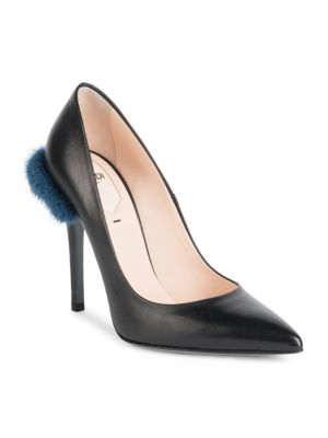Duo Pointy Toe Pump With Genuine Mink Trim, Black Blue