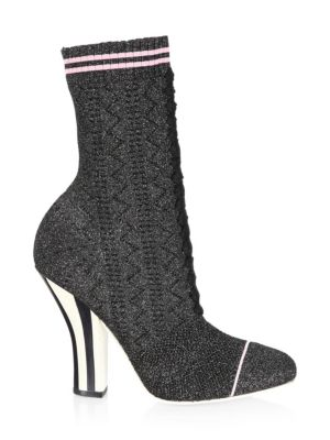 Rockoko Knit Lace Up Sock Booties by Fendi