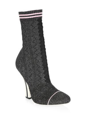 Rockoko Metallic Knit 105Mm Bootie, Black
