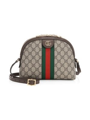 GUCCI Ophidia Leather-Trimmed Printed Coated-Canvas Shoulder Bag, Brown