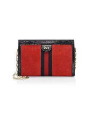 Small Linea Chain Shoulder Bag - Red in Blue