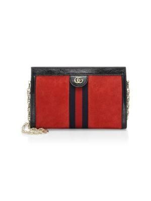 Small Linea Chain Shoulder Bag - Red, Red-Mult