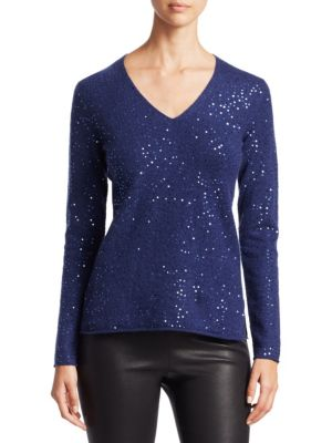 "Image of EXCLUSIVELY OURS. Cashmere sequin sweater.V-neck. Long sleeves. Pullover style. About 24.5"" from shoulder to hem. Cashmere. Hand wash. Imported. Model shown is 5'10"" (177cm) wearing US size Small."