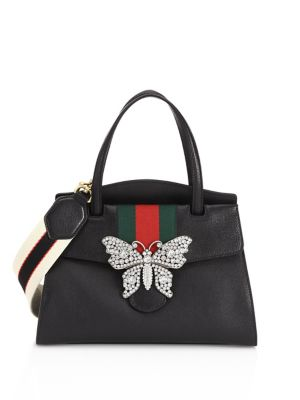 Linea Totem Medium Leather Top-Handle Bag With Butterfly & Web Strap, Black