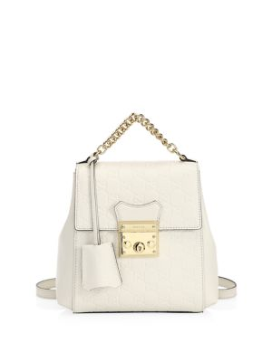 Gg Supreme Leather Padlock Backpack - White, Soft White