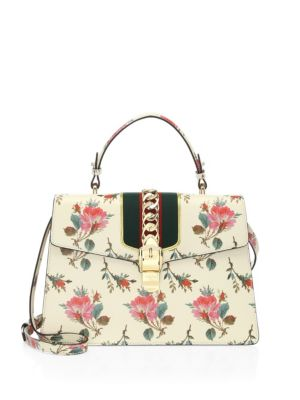 948d8ea812f8 Gucci Sylvie Medium Floral Leather Top-Handle Satchel Bag In Neutrals