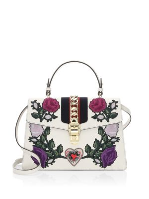 Medium Sylvie Floral Patch Top Handle Leather Shoulder Bag - White, Multi