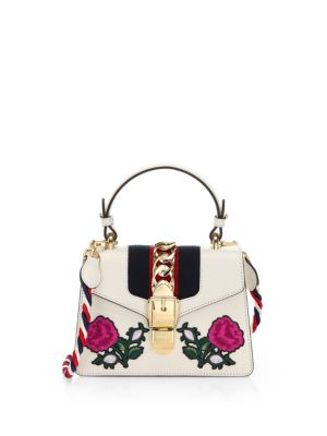 Mini Sylvie Embroidered Floral Leather Shoulder Bag - White
