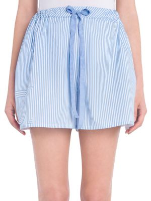 Striped Cotton Shorts, White, It 40 in Light Blue