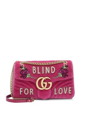 Gg Marmont 2.0 Imitation Pearl Embellished Velvet Crossbody Bag - Pink, Light Raspberry Multi