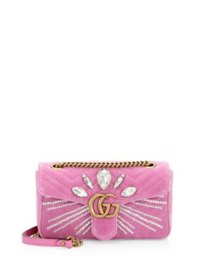 Gg Marmont 2.0 Crystal Embellished Velvet Crossbody Bag - Pink