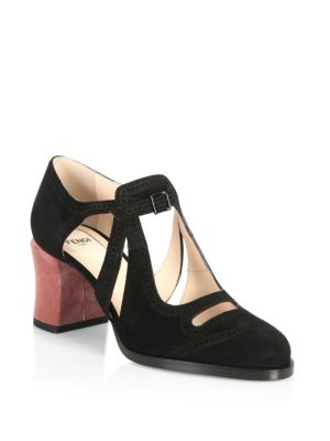 Chamelon Cutout Suede & Velvet Block Heel Pumps by Fendi