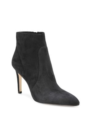 "Image of Suede booties. Self-covered heel, 2"" (50mm).Kid suede leather upper. Almond toe. Side zip closure. Man-made lining. Synthetic sole. Imported."