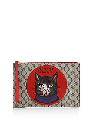 acdb892a90b Gucci - GG Supreme Mystic Cat Clutch - saks.com