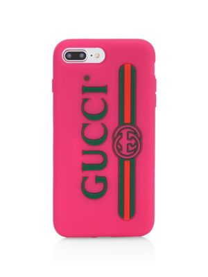 Logo Print Rubber Iphone Case, Pink