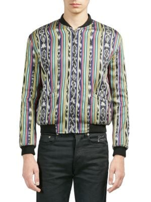 Ikat-Inspired Cotton-Silk Reversible Varsity Jacket Size 46 Eu in Multicolour