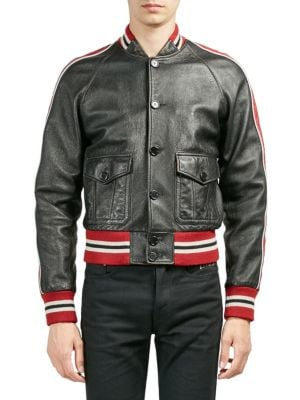 Washed Leather Varsity Jacket - Black Size 52 Eu