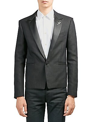 """Image of From the Saks IT LIST THE JACKET The wear everywhere layer that instantly dresses you up. Classic tuxedo jacket in smooth contrasting lapel Peak lapels Long sleeves Buttoned cuffs Button front Chest welt pocket Side welt pockets About 27"""" from shoulder to"""