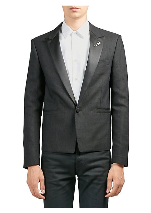 "Image of From the Saks IT LIST. THE JACKET. The wear everywhere layer that instantly dresses you up. Classic tuxedo jacket in smooth contrasting lapel. Peak lapels. Long sleeves. Buttoned cuffs. Button front. Chest welt pocket. Side welt pockets. About 27"" from sh"