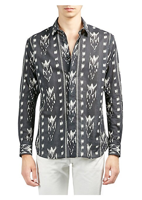 Image of Classic silk button-down shirt with allover print. Point collar. Long sleeves. Buttoned barrel cuffs. Concealed button front. Back yoke. Silk. Dry clean. Made in Italy.