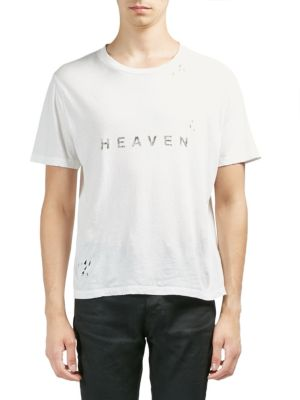 SAINT LAURENT Heaven Crew Neck Short Sleeved T-Shirt In White